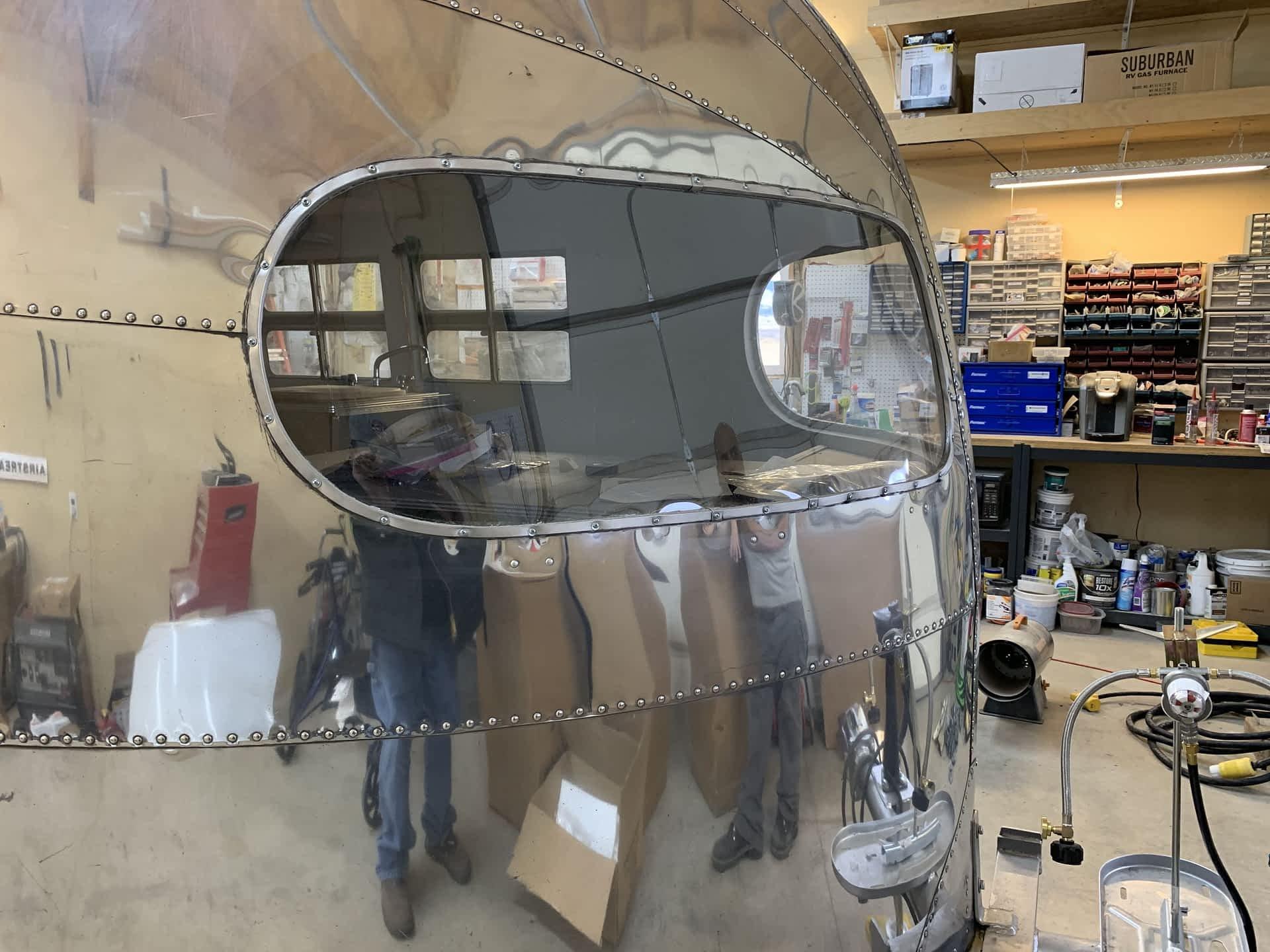 Vintage Airstream Restoration.  Aluminum Shell Repair